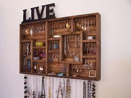 Jewelry Wall Organizer Amazing Wooden Jewelry Wall Organizer 72 In With Wooden Jewelry