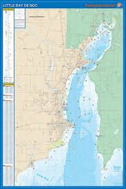 Little Bay De Noc Depth Chart Little Bay De Noc Detailed Fishing Lake Map Gps Pts Waterproof Depth L128
