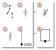 automotive wiring basic symbols switch battery  automotive wiring basic symbols 1 switch 2 battery 3 resistor 4 ground 5 variable battery symbol and 6 case ground symbol pinteres