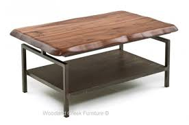 Contemporary Coffee Table Live Edge Coffee Table With Metal Base