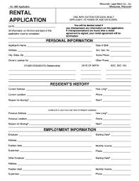 Blank Rental Application Rental Application Form Wisconsin No 996 Fill Online Printable