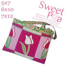 Sweet Pea Embroidery Designs Tulip Bag 5x7 6x10 7x12 In The Hoop Machine Embroidery