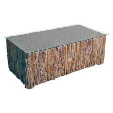 bluebone driftwood rectangular coffee table with glass top