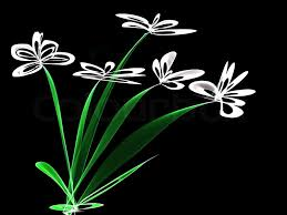 abstract generated white flowers black background stock photo colourbox
