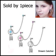 Dream Catcher Helix Earring 100Pcs 1006g Mix Color Dream Catcher Ear Tragus Cartilage Earring With 37