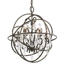 kichler vivian 6 light olde bronze modern contemporary clear glass globe chandelier