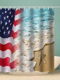 american flag beach starfish pattern waterproof shower curtain