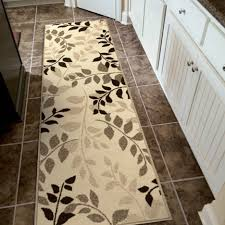 Runners For Kitchen Floor Black Leaves Pattern Runner Rug Under Indoor Swinging Chair With