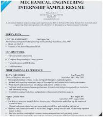 Resume For Mechanical Engg 25 Concept Sample Resume For Internship In Mechanical Engineering