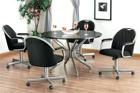 beautiful inspiration dining room chairs with rollers swivel casters um size of charming leather