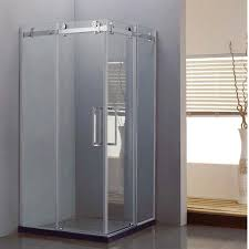 square sliding frameless corner shower doors