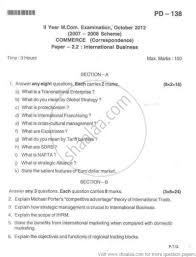 international business paper commerce mcom part international business paper 2 2012 commerce mcom part 2 university exam