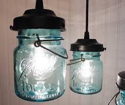 vintage blue canning jar chandelier created new