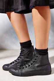 usa lyst converse chuck taylor all star leather high top sneaker in black c24f8 f15db
