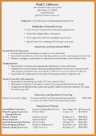 Housekeeping Supervisor Resume Format Resume Template Easy Http