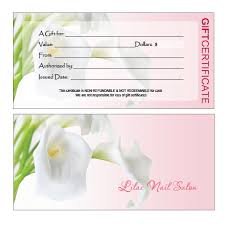 Personalised Gift Vouchers Templates Gift Certificates Printing For Nail Salon