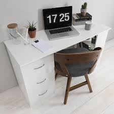White desk with drawers on both sides Makeup Laura James White Computer Desk Workstation With Drawers Shelves Laura James