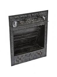1895 1900 original antique american black enameled cast iron interior residential fireplace gas insert with ornamental