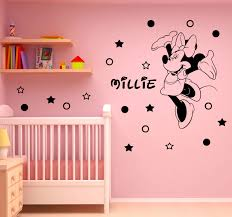 Minnie Mouse Bedroom Wallpaper How To Decorate Girls Room With Personalized Vinyl Wall Stickers