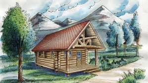 Log Houses   Log House Designs from Homeplans com Square Foot Log Cabin Plan HOMEPW