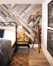 wood accent wall bedroom interior attractive grey pattern brown and black geometric carpet vintage steel bed