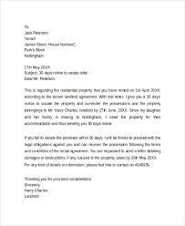 30 days notice to vacate letter thirty day notice letter