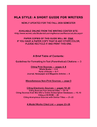 Mla Style A Short Guide For Writers Wor Wic