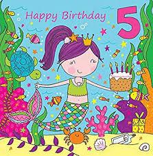 Tarjetas De Cumpleanos De Ninas Twizler Tarjeta De 5 Cumpleaños Para Niña Con Linda Sirena