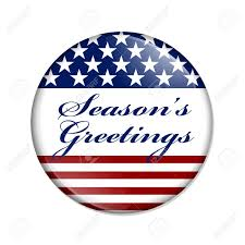 Seasons Greetings Usa Button A White Button With Red Stripes