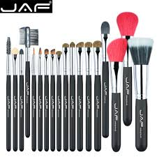 name 18 pcs cosmetic make up brush set item j1813ay b bristle hair mostly ferrule barrel aluminum handles wood content 1 set of make up