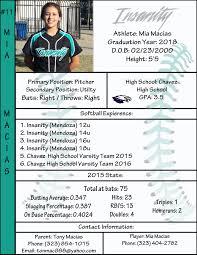 Softball Player Profile Template Profile Softball Pinterest Softball Softball Players And