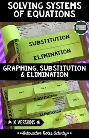 solving systems of equations graphing substitution elimination interactive notes activity a resource