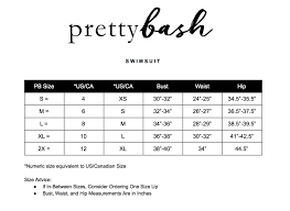 Swimwear Size Chart Size Guide Pretty Bash Redefining Loungewear Robes