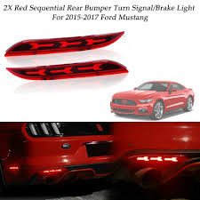 2017 Mustang Lights Details About Red Led Rear Bumper Foglight Tail Lights W Turn Signal For 2015 17 Ford Mustang
