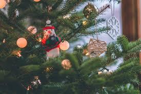 Snowman Decor On Christmas Tree Free Stock Photo