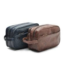 2016 luxury men cosmetic bags knitted leather toiletry bag travel makeup bag make up case wash bag cosmetic organizer clutch
