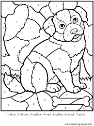 Free coloring pages to print or color online. Color By Numbers Adult Worksheets Dog Coloring Pages Printable