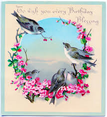 Birthday On Day Card Vintage Clip Art Image Sweet Birds With Flowers Birthday