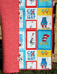 Cat In the Hat Quilt Kit Toddler Wholecloth Cheater Panel & Cat In the Hat Quilt Kit, Toddler Wholecloth Cheater Panel, Red Plus Sign,  Dr Seuss Blanket, Baby Project, Nursery Bedding, Beginner Simple Adamdwight.com