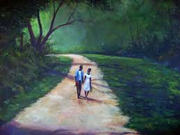 t ellis fine arts our walk painting by famous african american artist ted t ellis t ellis with his own style of painting captures the intimacy and