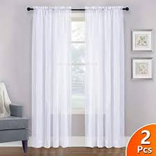 Amazon.com: NICETOWN Sheer White Curtains 84 - Rod Pocket Window ...