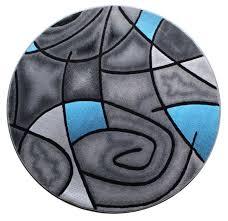 masada rugs modern contemporary round area rug blue grey black 5 feet x 5