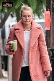 step out makeup free actress kristen bell was spotted out getting a fresh juice in los feliz kristen kept it cal in pink coat white t shirt