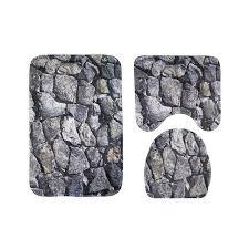 3pcs rock shower mat absorbent non slip bathroom rug bath mat rug toilet lid cover