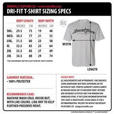 Regular Fit T Shirt Size Chart Ironville Size Charts Dri Fit T Shirts Powerlifting
