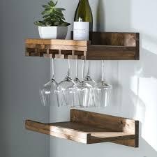 rustic wall mounted wine glass rack shelf ikea design