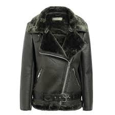 pu motorcycle faux fur jacket army green