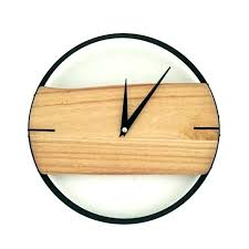 large rustic clock wood wall natural brief style wooden gray clocks and iron cl