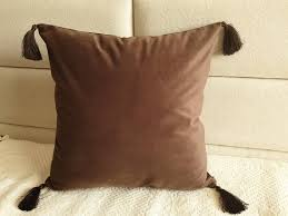 brown pillow covers with tassels
