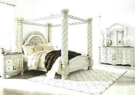 Canopy Bed Full Size White Wood Bailey Charcoal Frame King Fu ...